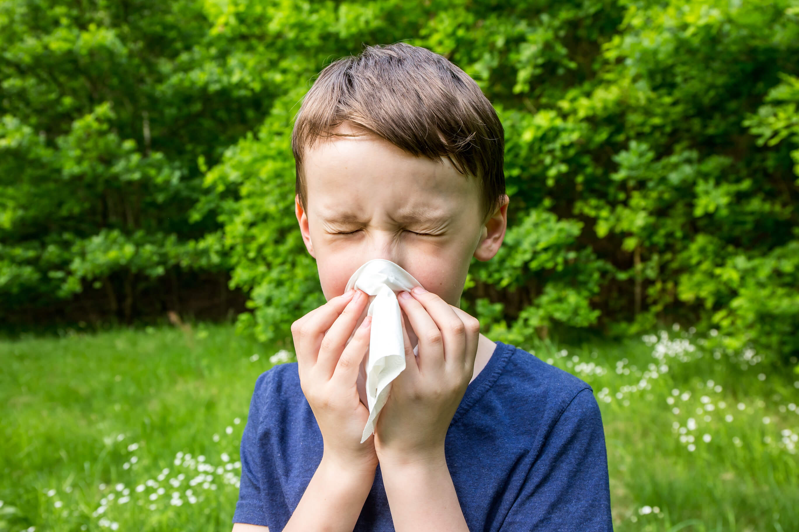 A boy experiencing nasal allergies outdoors blowing his nose.